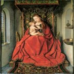 Jan van Eyck (about 1395-1441)  Lucca Madonna  Oil on panel, 1432-1441  65.5 x 49.5 cm  Stadelsches Kunstinstitut, Frankfurt am Main, Germany